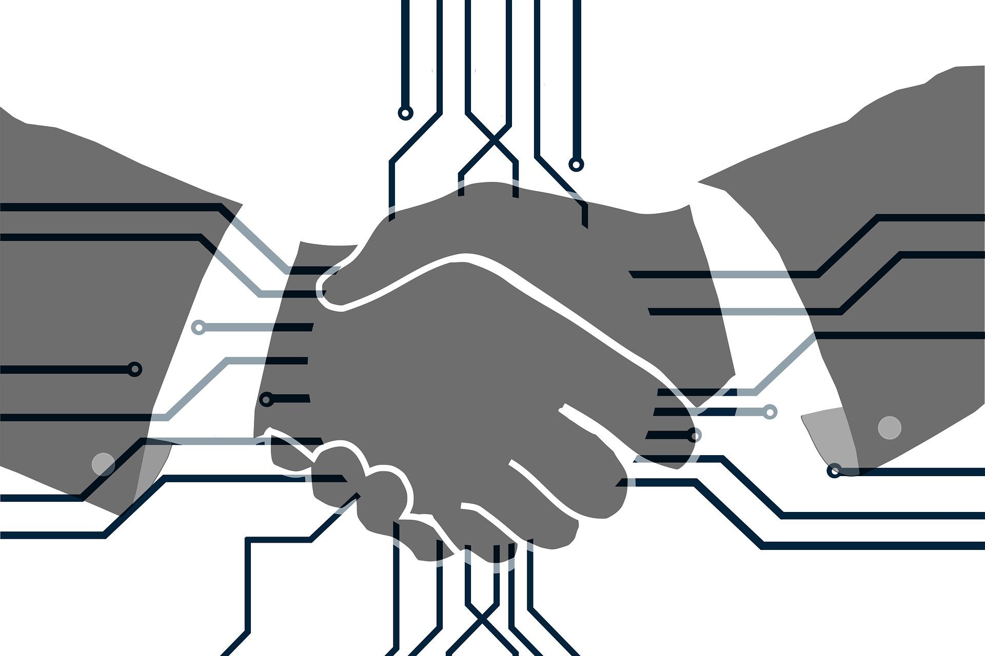 Digitaler Handshake (Symbolbild: Digitalisierung)