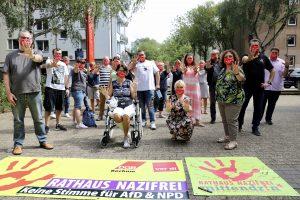Rathaus nazifrei: Keine Stimme für AfD und NPD (Aktion von ver.di/dem DGB) - hier die Beschäftigten der Deutschen Rentenversicherung Knappschaft-Bahn-See (DRV KBS)