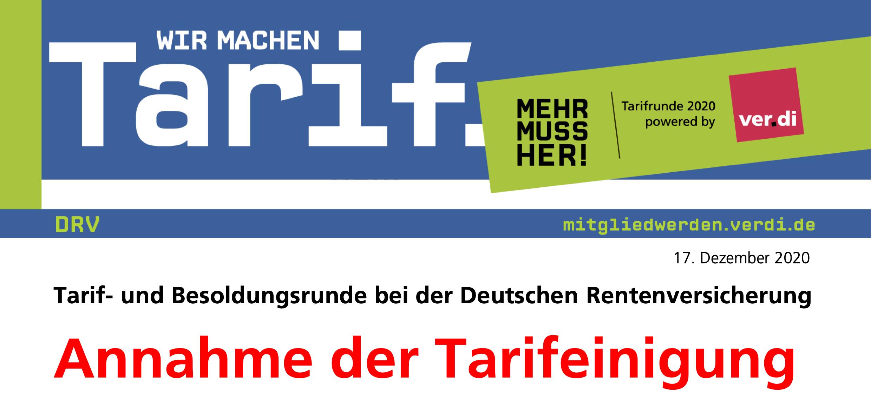 Tarif- und Besoldungsrunde bei der Deutschen Rentenversicherung: Annahme der Tarifeinigung