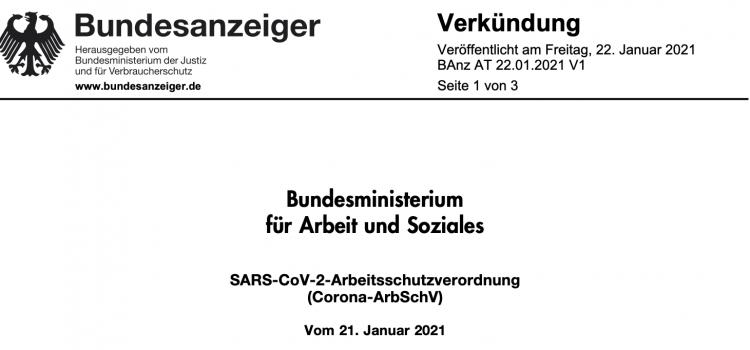 SARS-CoV-2-Arbeitsschutzverordnung (Corona-ArbSchV)