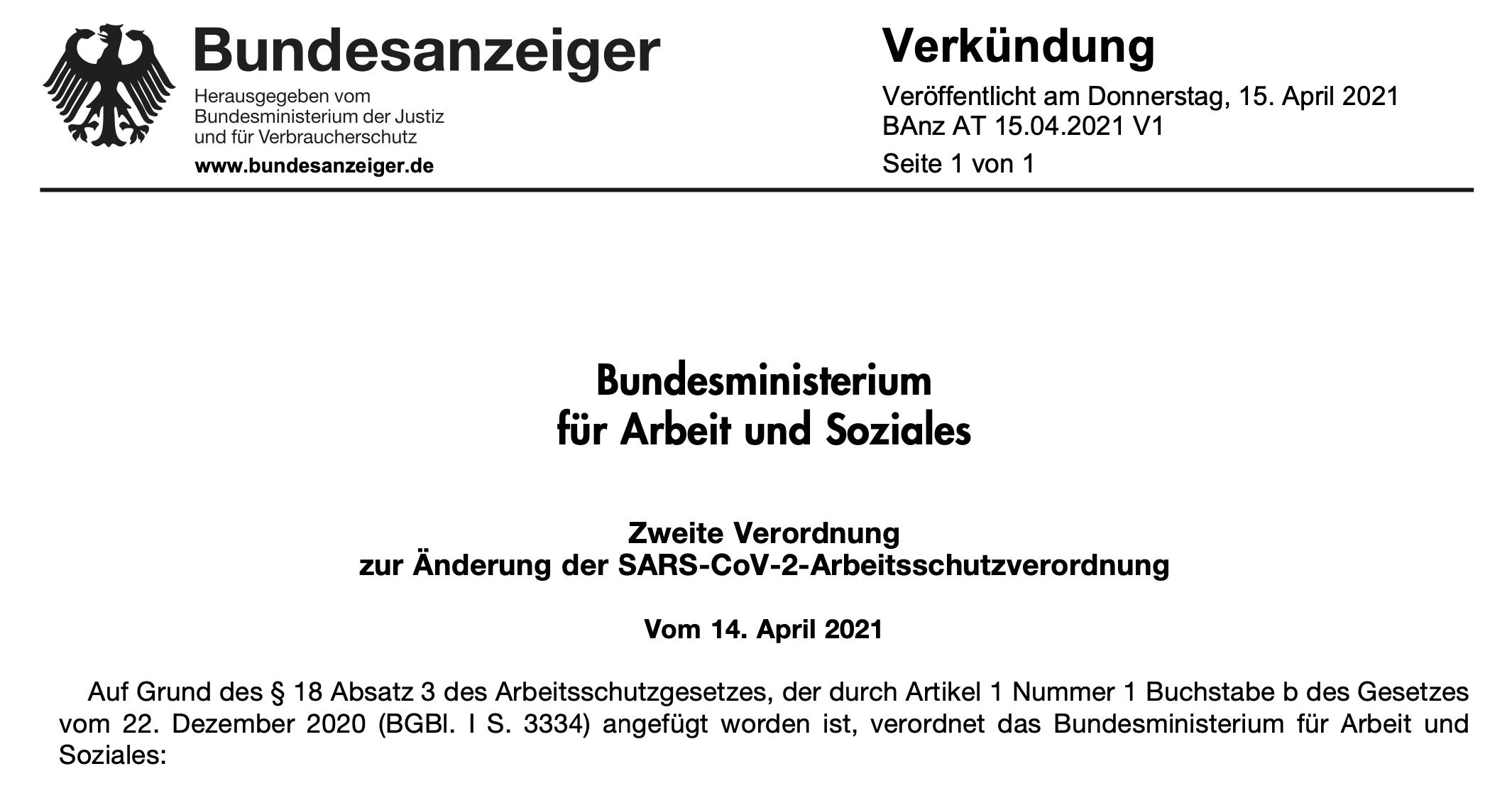 Zweite Verordnung zur Änderung der SARS-CoV-2-Arbeitsschutzverordnung