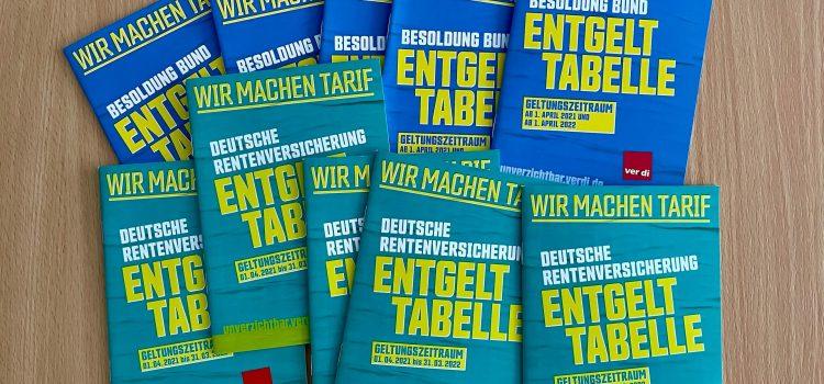ver.di: Entgelttabellen 2021 (Deutsche Rentenversicherung / Besoldung Bund)