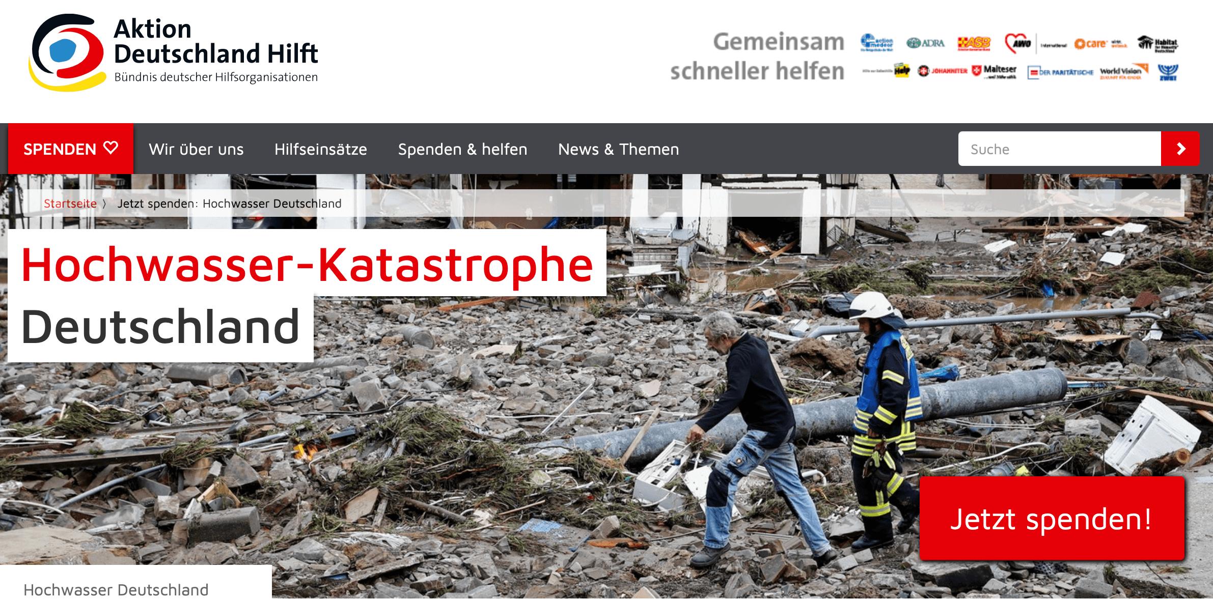 Aktion Deutschland Hilft: Hochwasser-Katastrophe Deutschland