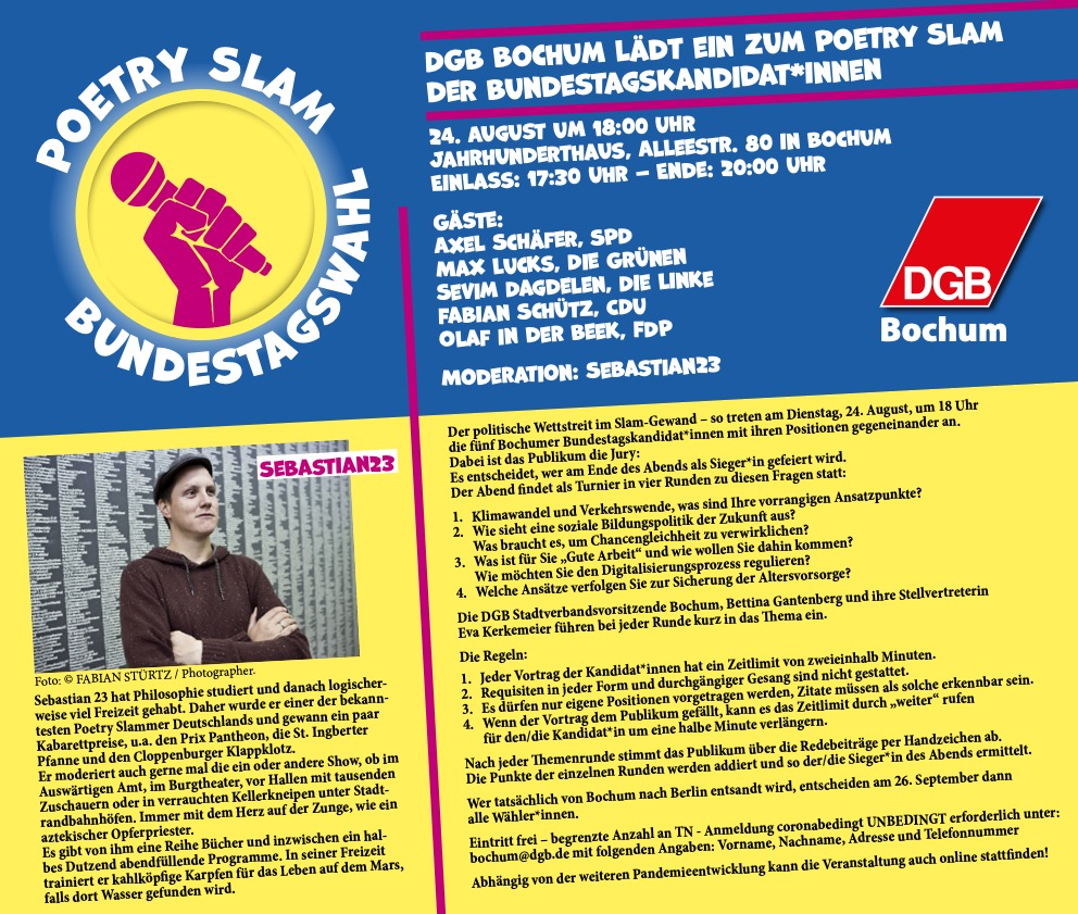 Poetry Slam (DGB Bochum) zur Bundestagswahl: Einladung